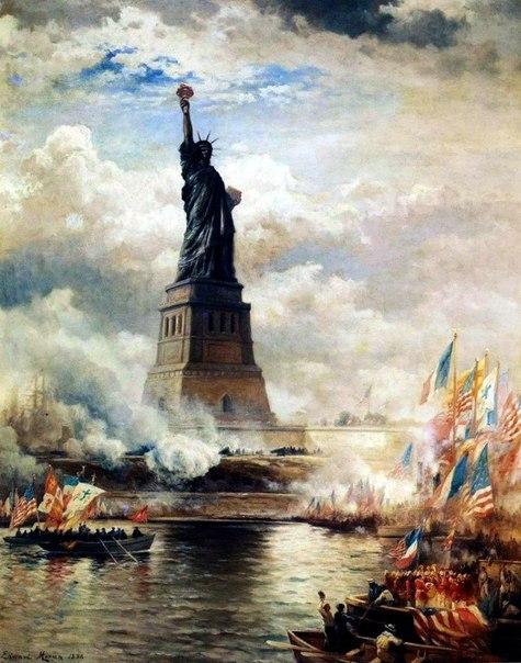 28 oktyabrya 1886 goda sostoyalos oficialnoe otkrytie znamenitoi statui svobody v nyu iorke 28 октября 1886 года состоялось официальное открытие знаменитой статуи Свободы в Нью Йорке