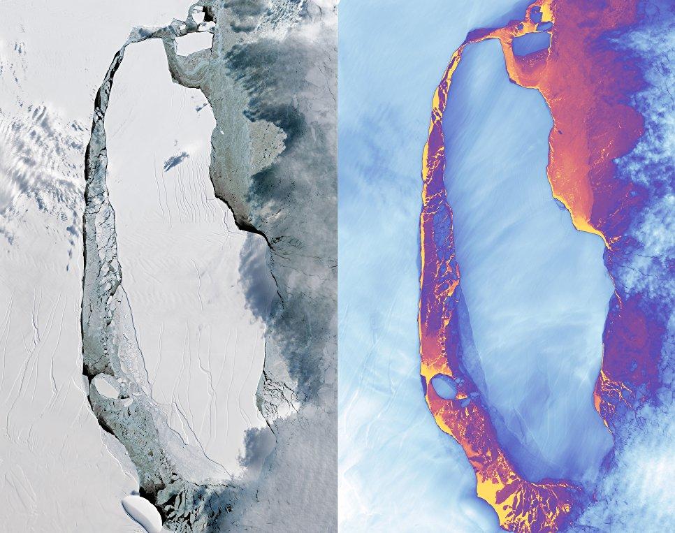 sputniki nasa poluchili foto megaaisberga Спутники НАСА получили фото мегаайсберга