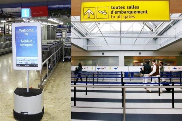passajirov v aeroportu jenevy otnyne soprovojdayut roboty Пассажиров в аэропорту Женевы отныне сопровождают роботы