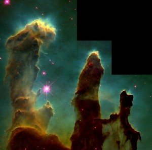 Eagle nebula pillars 300x296 Космос